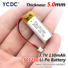 37V 130mAh 501230 Lithium Polymer Li-Po li ion Rechargeable Battery Lipo cells For mobile Bluetooth earphone speaker MP3 MP4