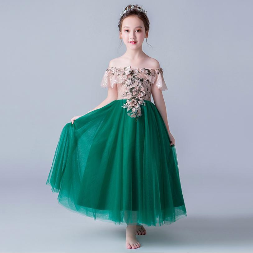 Luxury Appliques Flower Girl Dresses Shoulderless Kids Formal Dress Wedding Ball Gown Tulle Evening Gowns Party Dress Y607Luxury Appliques Flower Girl Dresses Shoulderless Kids Formal Dress Wedding Ball Gown Tulle Evening Gowns Party Dress Y607