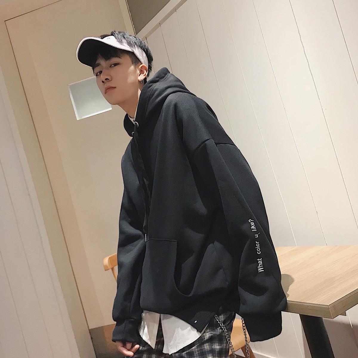 Streetwear Broderie xl Printemps Pull Shirts M Étudiant roses Chapeau Hommes gray Jeunesse 2018 Solide Kangourou Harajuku Couleur Sweat Poche yellow Black qt5txwagd