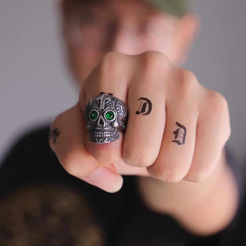 Kldy Punk Nam Nhẫn Thép Không Gỉ Đảng Nam Trang Sức Phật Giáo Tây Tạng Chạm Khắc Kapala Đường Đầu Lâu Nhẫn Biker Gothic Jewellry