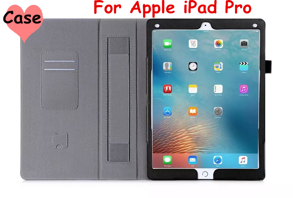 Flip Cover For Apple iPad Pro 12.9  Tablet Case PU Leather Case with Hand Holder and Card Slot + Screen protector magnet flip cover for huawei mediapad m2 10 1 m2 a01w a01w tablet case pu leather case with hand holder and card slot