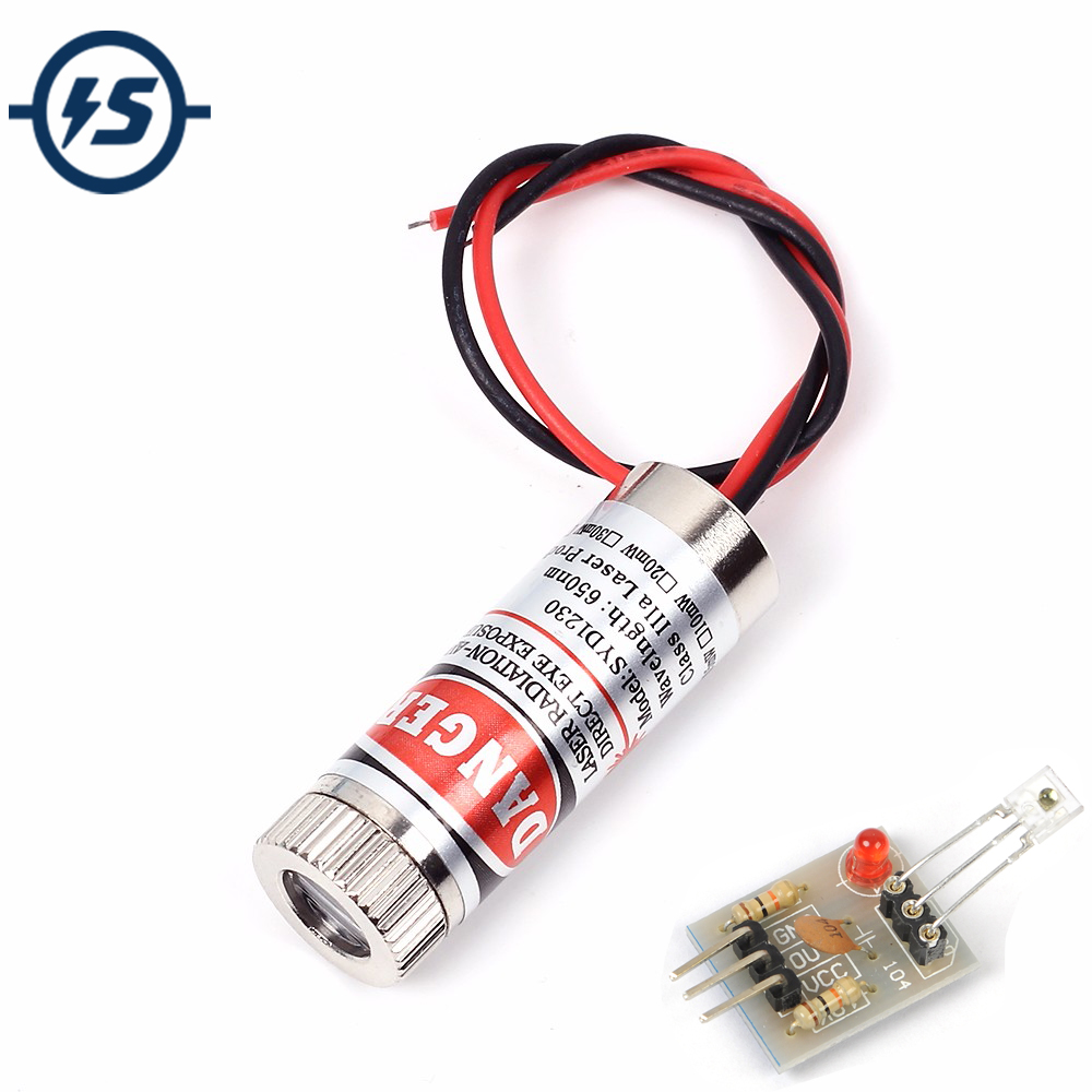 Adjustable Beam 650nm 5mW Red Line Laser Module Head Glass Lens Focusable Industrial Class 3-5V