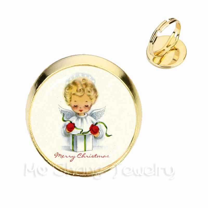 Classical Cartoon Character Christmas Angel Glass Cabochon Adjustable Rings DIY Jewelry Wonderful Xmas Gifts