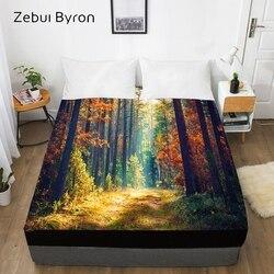 3D HD druk cyfrowy niestandardowe łóżko z elastyczną  180/150/160x200 wyposażone prześcieradło królowej/króla  pokrycie materaca jesień las