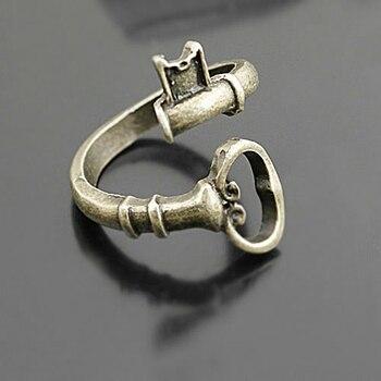 (27031)10PCS 22MM,inside:18MM Antique Bronze Zinc Alloy Curling Key Shape Rings Diy Jewelry Findings Accessories Wholesale