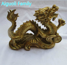 Wedding Decorations/Art Collection Chinese Brass Carved Money Dragon Statue /Home Decoration Feng Shui Metal Animals  Sculpture