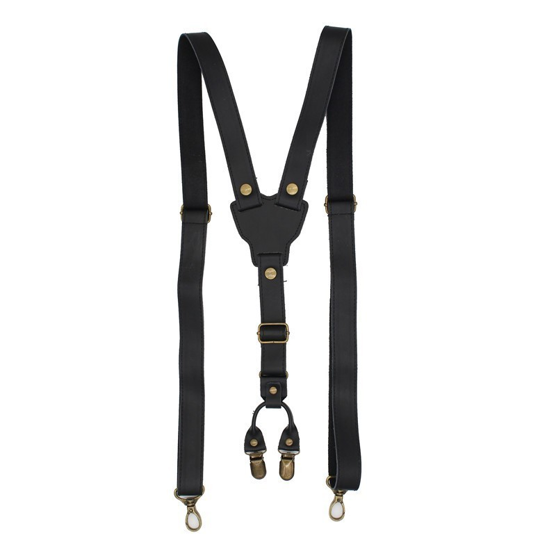 2.5cm Real Retro Cowhide Black Leather Strap Women Men Suspenders Belt Adjustable Bronze Buckle Braces Groom Y-Shaped Shirt