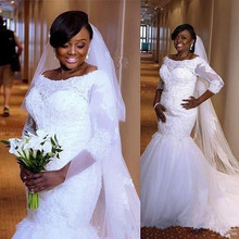 3bd14856e6d8a 2019 Modern African Mermaid Wedding Dresses Scoop Lace Appliques Beaded  Tulle Three Quarter Sleeves Plus Size
