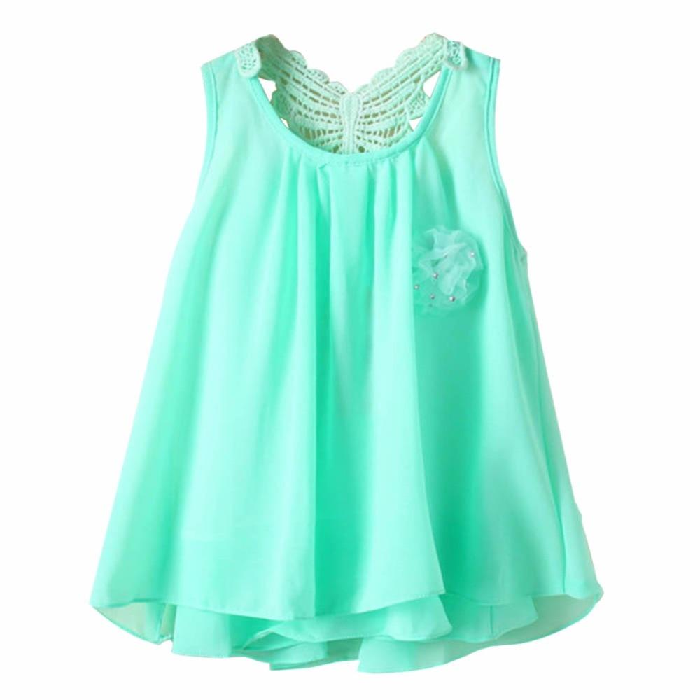 2-7 Y Baby Summer Sundress Kids Girl Chiffon Vest Tutu Dress Sleeveless Dresses
