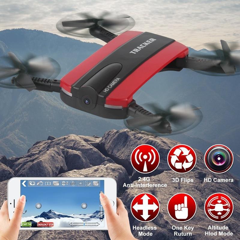 Pieghevole Selfie Drone Dron Tracker Controllo Del Telefono Mini Droni con Wifi FPV Videocamera HD Tasca Elicottero JXD 523 523 W VS JJRC H37
