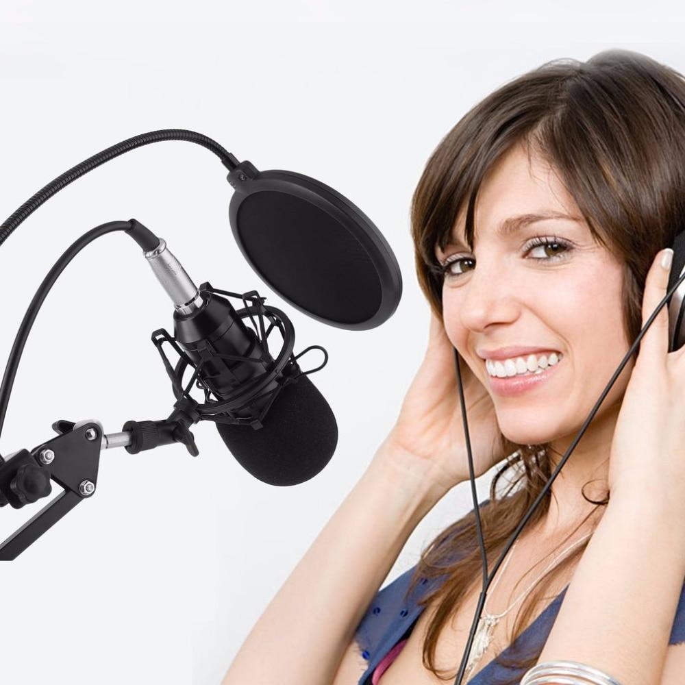 Professional Microphone Condenser Microphone for Video Recording Karaoke Radio Studio Microphone With Anti-Shock Mount цены онлайн