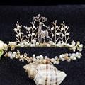 2017 Bride hair golden fawn crown pearl crystal tiara hair hoop dress accessories