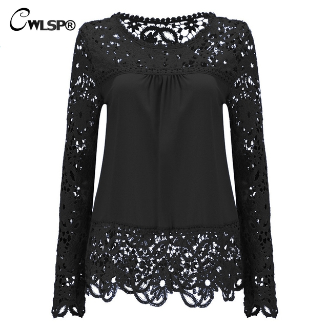 CWLSP Plus size Women Chiffon Blouses Shirts  Long Sleeve Tops Lace Blouses Hollow out Crochet Blusas Femininas 2017 Fashion 1