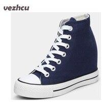 Vzehcu Модная женская текстильная обувь на танкетке женские туфли на шнуровке на высоком подъеме повседневная обувь для леди квартир 5c99
