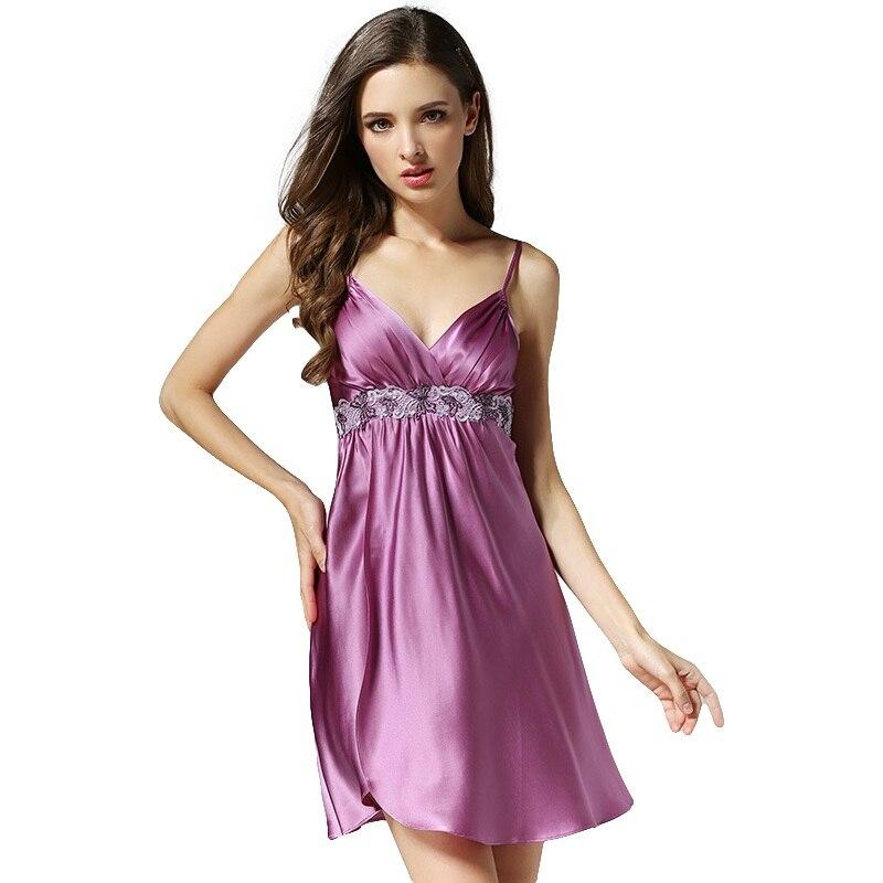 Nouveauté 100% haute qualité soie Satin femmes chemise de nuit Sexy nuisette lumière violet/violet/violet foncé vêtements de nuit pour dames sp0031