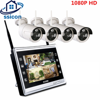 SSICON 2 0MP 1080P WiFi Wireless NVR Kit 4CH Outdoor Day Night Security Camera System Plug