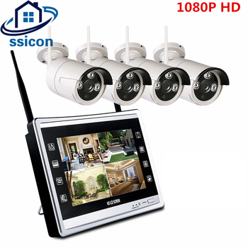 SSICON 2.0MP 1080P WiFi wireless NVR kit 4CH Outdoor Day Night Security Wifi Camera System Plug And Play With 12.5'' LCD Screen