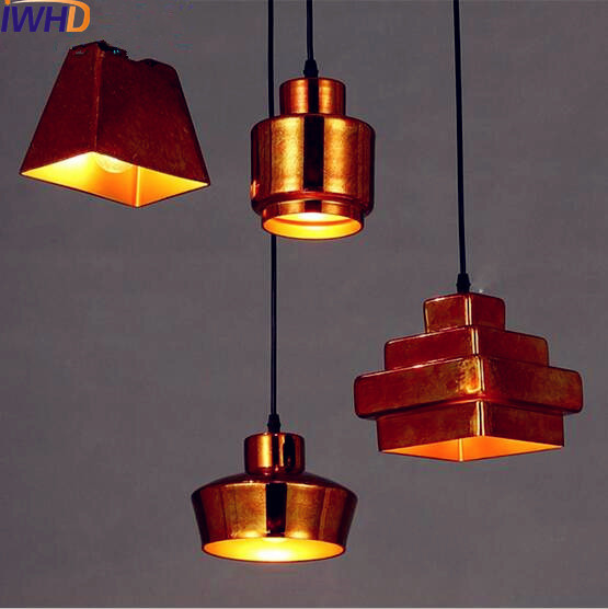 IWHD Gold Ceramic Retro Vintage Industrial Pendant Lighting Fixtures Bar Cafe Loft Pendant Lamps Light LED Lamparas Colgantes america country led pendant light fixtures in style loft industrial lamp for bar balcony handlampen lamparas colgantes