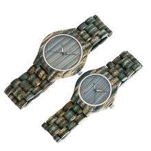 REDEAR Colorful Dark Green Bamboo Couple's Wood Watches Quartz Watch Women Men's Wooden Strap Wristwatches relogio feminino P25