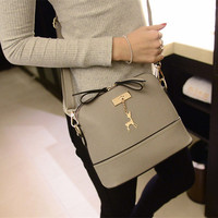 New Women Messenger Bags Vintage Small Shell Leather Handbag Casual Bag Hardware Deer Ornaments Shell Package