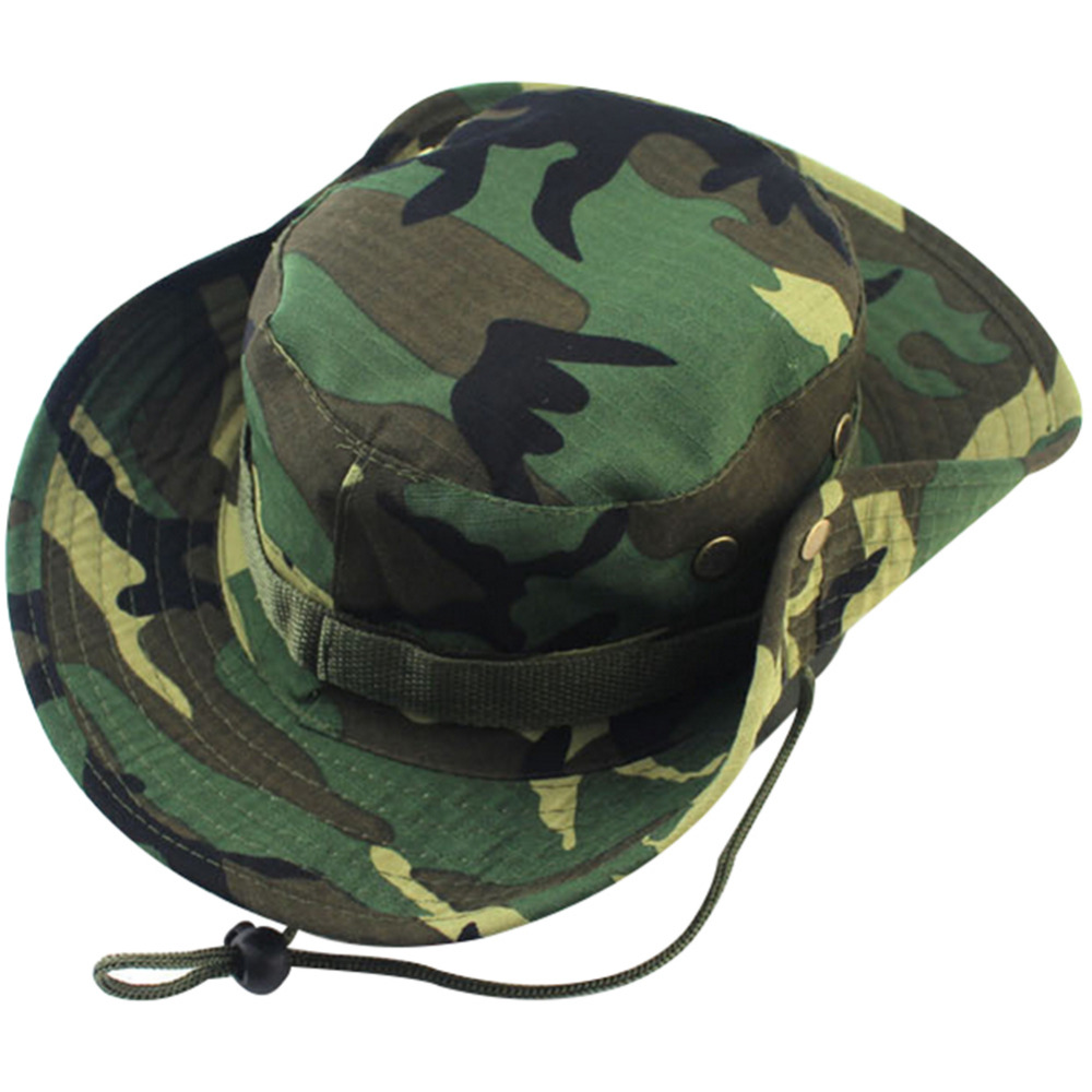 Fashion Military Camouflage Bucket Hats Jungle Camo Fisherman Hat with Wide  Brim Sun Fishing Bucket Hat Camping Caps cotton caps-in Bucket Hats from  Apparel ... 680d1a11d08