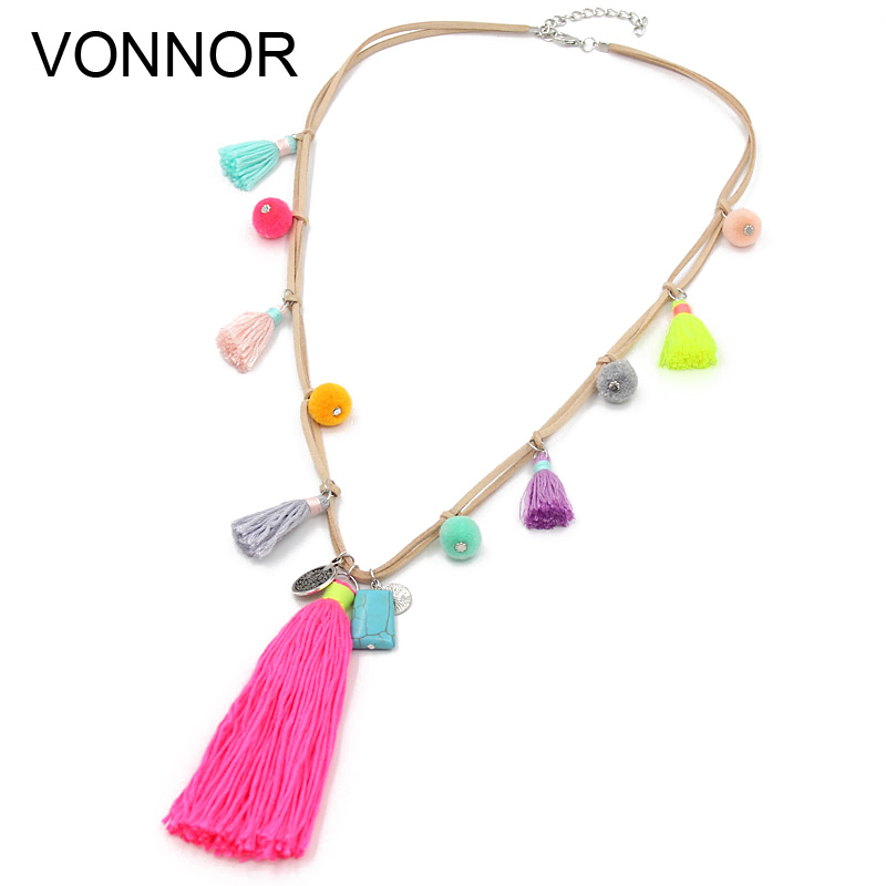 Necklace for Women Bohemian Accessories Velvet Ribbon with Ball Long Tassel Pendant Statement Necklace Female nc 5364 women s bohemian style delicate floral necklace w pendant golden blue 26cm