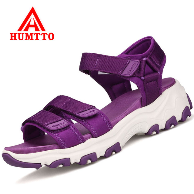 HUMTTO Outdoor Women Hiking Sandals Hook&Loop Beach Sandals Mountain Climbing Shoes Height Increasing Women Sport Sandals