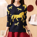 New Arrivals Women Sweater Cartoon colorful horse printed Embroidery Fashion Winter Pullovers Sweaters women Casual Kintwear