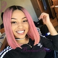 Short ombre bob wigs with dark roots cheap pink lace front wigs heat resistant synthetic wigs for black women fast shipping
