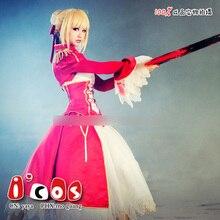 Anime Fate Stay night Saber Figura Extra Rojo Sexy Uniforme cosplay set Completo Stock tamaño del envío del NUEVO