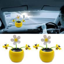 Креативная пластиковая Солнечная энергия цветок автомобиль орнамент флип лоскут горшок качели Детская игрушка