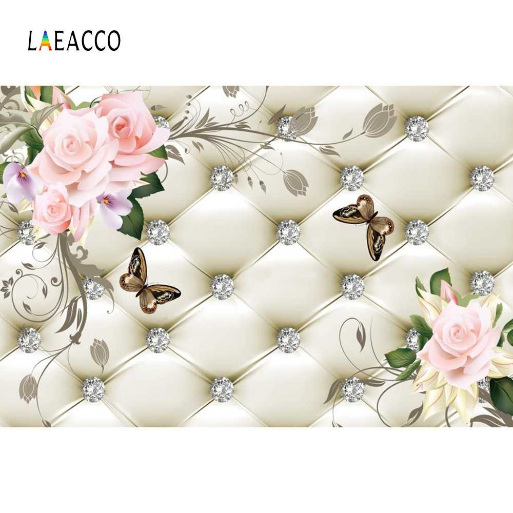 Laeacco Floral Headboard Bed Diamond Pattern Flowers Butterfly Scene Photographic Backgrounds Photography Photo Backdrops Studio