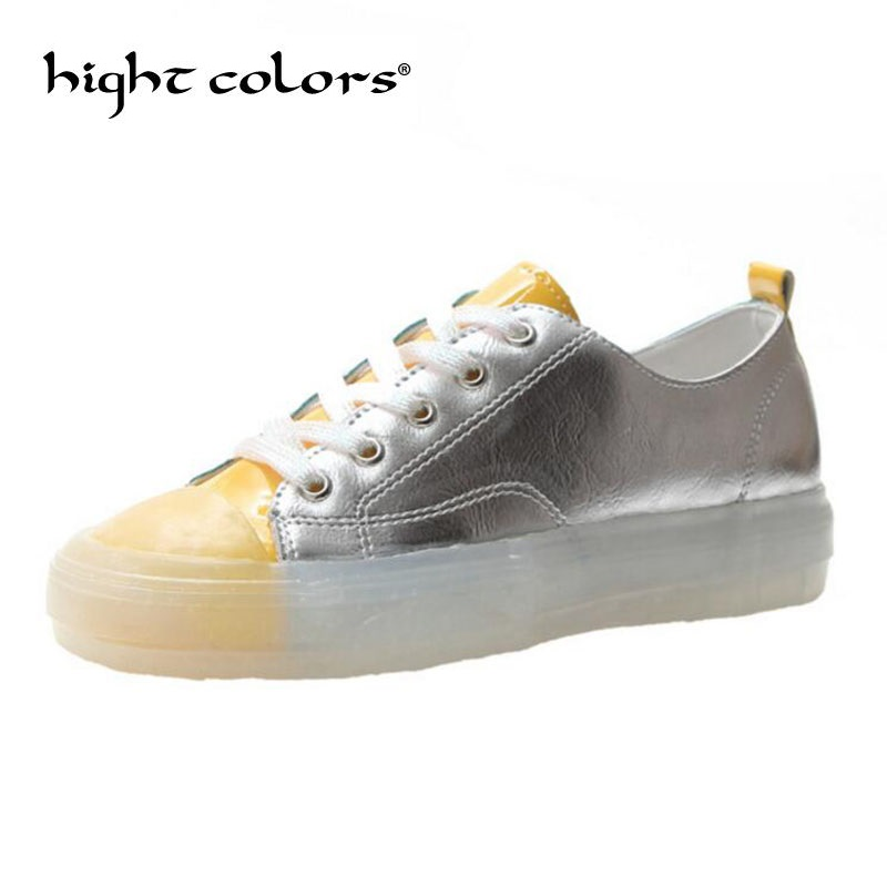 2019 Ladies Fashion Crystal Bottom Silver Casual Shoes Flats Women Sneakers Zapatos Hombre Sapato Feminino Chaussure Homme