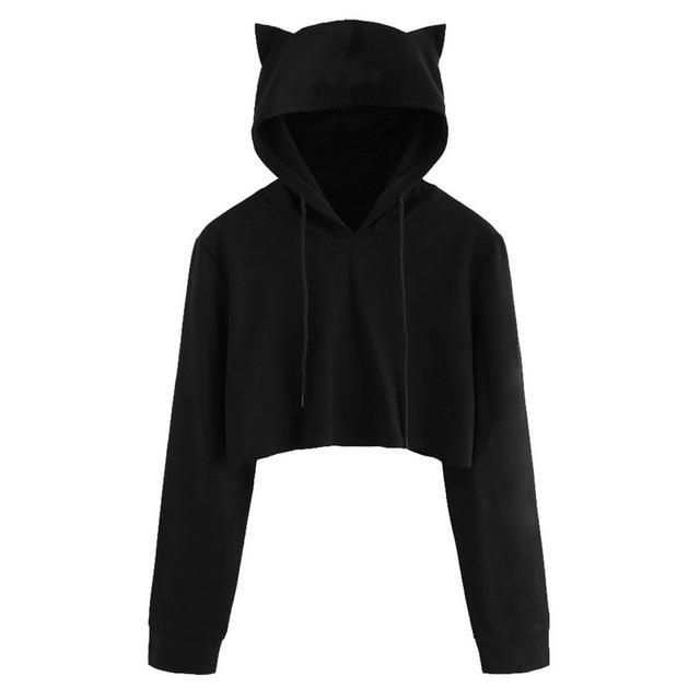 e0f16a67bc1566 2018 Loose Autumn Hoodies Running Sweatshirt Women Black Long Sleeve Crop  Top Drawstring Short Tank Tops jogger Sport T-shirt. 1 order