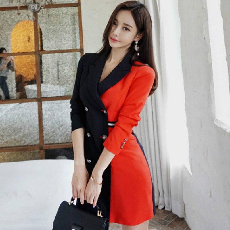 2018 automne OL Slim couleur Patchwork Double boutonnage moulante Blazer officiel femmes cranté travail manteau