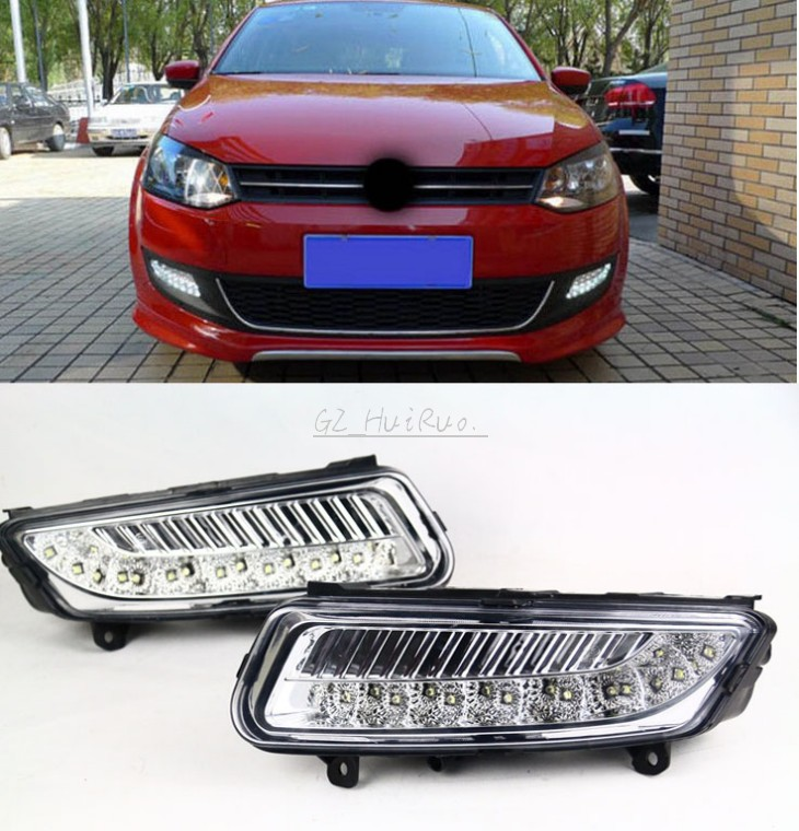 2 Pcs/set Waterproof LED Daytime Running Light DRL For VW Volkswagen Polo 2010 2012 2012 Fog Lamp Modify Free Shipping