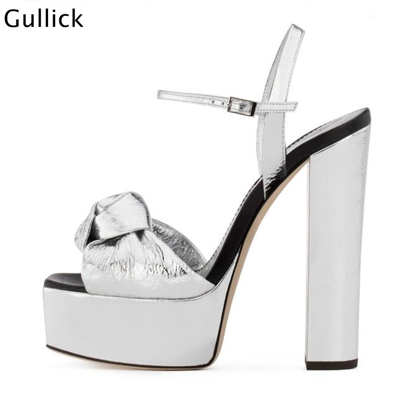 Fashion Front Big Butterfly Knot Decor Ultra High Heels Woman Sliver Golden Sandals Chunky Heels Platform Ankle Buckle ShoesFashion Front Big Butterfly Knot Decor Ultra High Heels Woman Sliver Golden Sandals Chunky Heels Platform Ankle Buckle Shoes