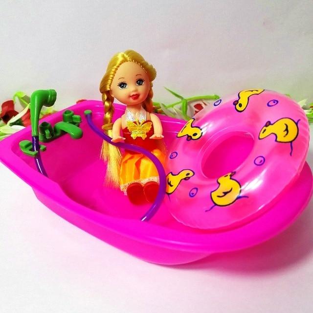 3 pz vasca da bagno + anello di nuotata per barbie kelly doll ...