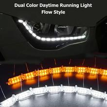 цена на Headlight Flasher Color DRL flowing Turn Signal Flexible White/Amber Switchback LED Knight Rider Strip Light Car Styling