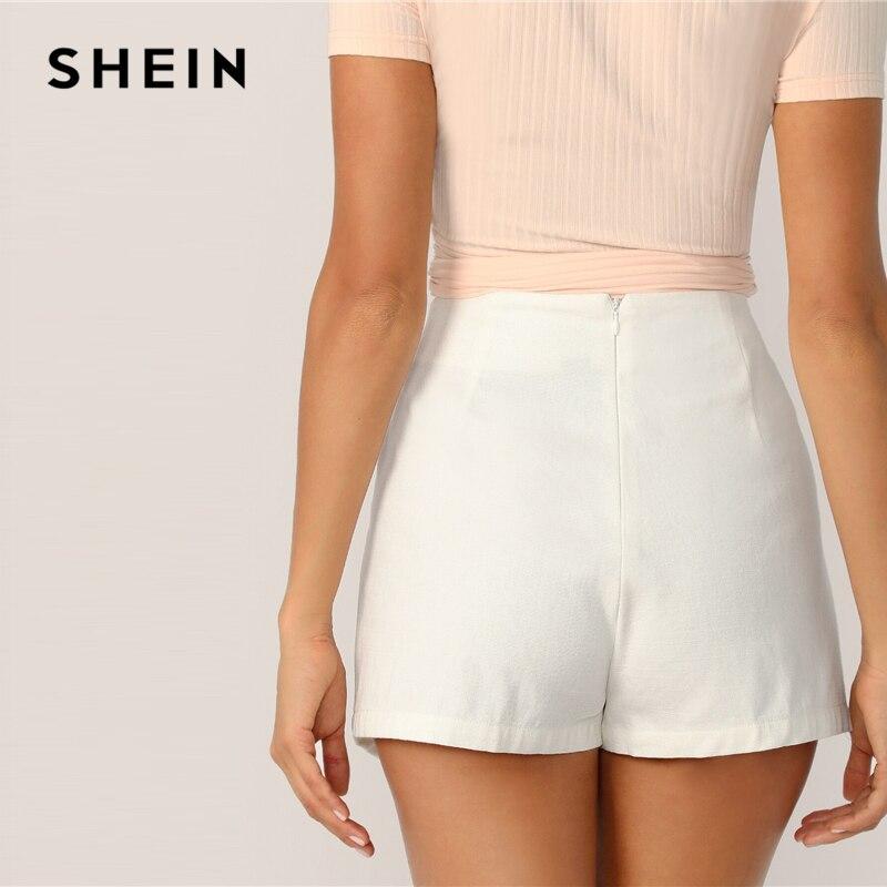 SHEIN Zipper Fly Back Solid Wrap Skort 2019 White Spring Summer Autumn Shorts Elegant Culottes Mid Waist Women Shorts 2