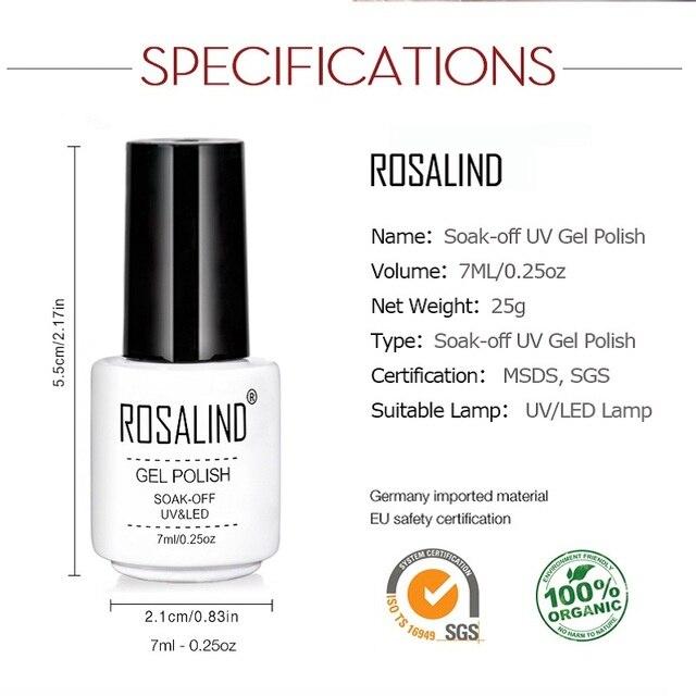 ROSALIND Gel Varnish Nail Polish Set Hybrid All For Manicure 7ML Colors Semi Permanant UV Nail Art Prime Gel Varnish Nail Polish 4