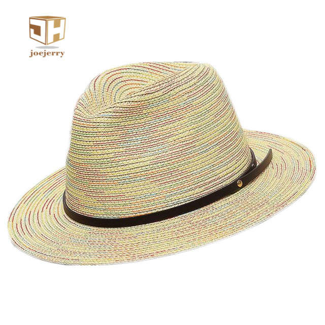 f01bb1314b1 joejerry Fashion Women Sun Hat Ladies Wide Brim Straw Hats Design Summer  Beach Panama Hats Church Hat Bone Chapeu Feminino