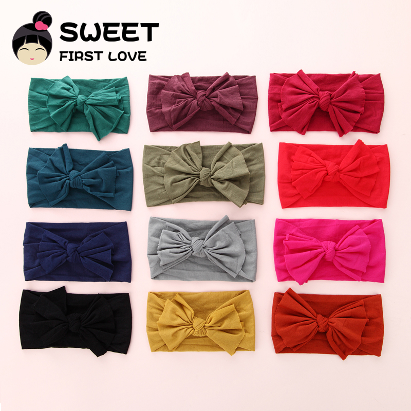 27pcs lot Girls Big Bow Nylon Headband Soft Elastic Bowknot Hairband Children Girls Toddler Hair Accessories