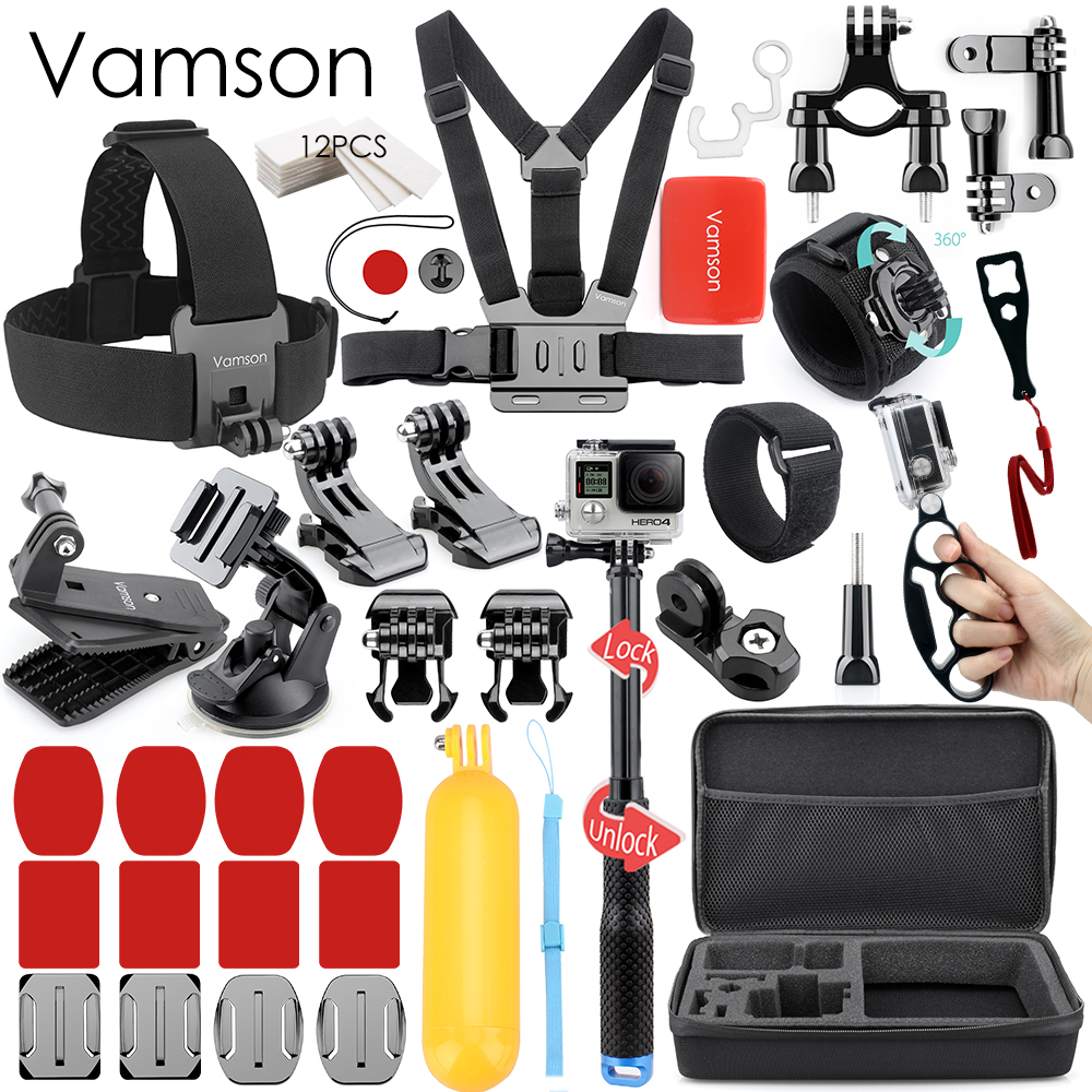 Vamson pour Gopro accessoires Set Kit ensemble pour Gopro Hero 6 5 4 3 pour SJCAM SJ4000 SJ5000 pour Xiaomi yi VS55