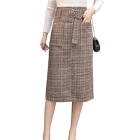 Long Woolen Warm Plaid Skirts Womens 2017 Autumn Winter High Waist Plus Size Elegant Office Work