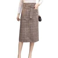 צמר משובץ חם ארוך חצאיות נשים 2017 סתיו החורף גבוה מותניים תוספת גודל אלגנטי עבודה משרדית נהיגה לראשונה חצאית saia חצאית צמר faldas