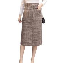 Long woolen warm plaid skirts womens 2019 spring autumn high waist belted elegant office work midi skirt wool saia jupe falda grommet belted waist plaid wrap skirt