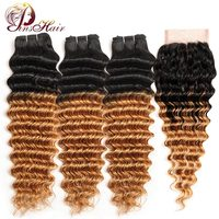 Pinshair Brazilian Hair Blonde 3 Ombre Bundles With Closure Deep Wave 1B 27 Human Hair Weave Bundles With Closure Non Remy Hair
