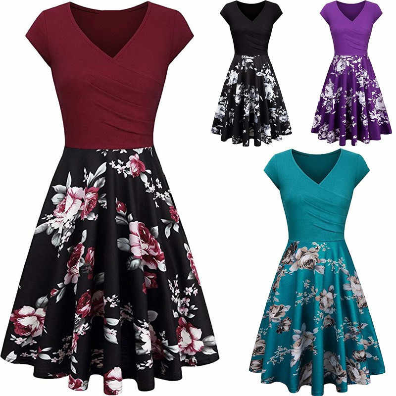 New Spring Summer Dresses Women 50S 60S Vintage Robe Slim Elegant Party Dress Short Sleeve Casual Plus Size Print Dress Vestidos