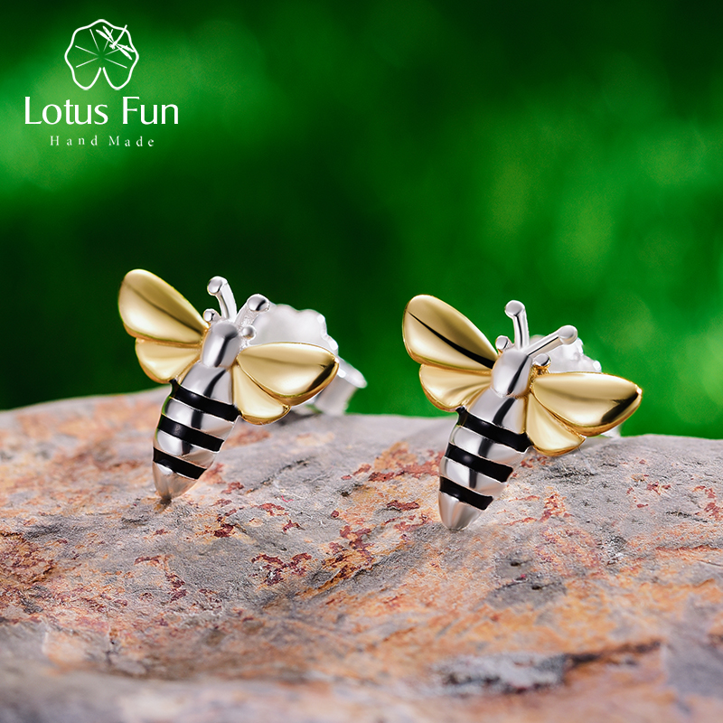 Lotus Fun Real 925 Sterling Silver  Handmade Designer Creative Fine Jewelry Lovely Honey Bee Stud Earrings for Women Brincos